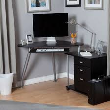 Country Style Computer Desks - small computer desk with hutch in compact modern style made of