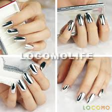 metallic color acrylic false fake full nail tip art silver