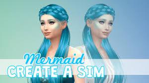 sims 4 blue hair the sims 4 create a sim teal and blue mermaid youtube