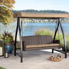 Glider Porch Patio Glider Swing With Canopy Beige Polyester Canopy Cover 4