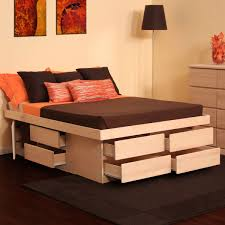 Platform Bed With Storage Underneath Furniture White Painted Wooden Bed Frames With Shelves With Queen