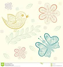 spring seamless background with birds and butterflies hand draw