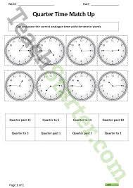 quarter time match up worksheet teaching resource u2013 teach starter