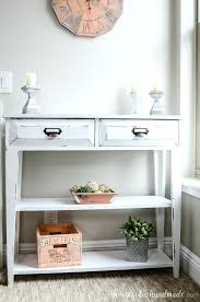 table with drawers and shelves two shelf console table cream oak 2 drawer console table whalen
