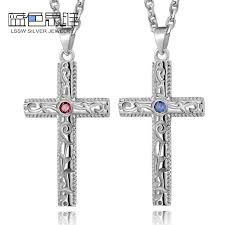cross stone necklace images Blue sweet couple necklaces vintage cross pendant for men jpg