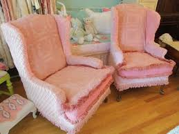 custom made pair wingback chairs vintage chenille bedspread