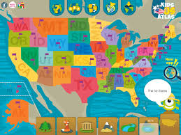 Map Of The 50 States Kids U S Atlas Educational Game To Learn The Geography Of The