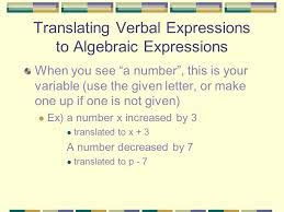 algebra translating math 7 introduction topics to be covered