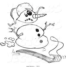 vector cartoon sledding snowman coloring outline