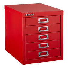 bisley red 5 drawer cabinet the container store