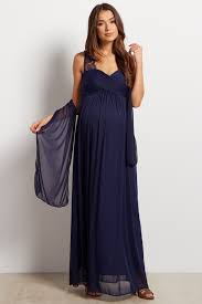 maternity evening dresses navy lace accent chiffon maternity evening gown
