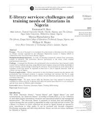 e library services challenges and pdf available