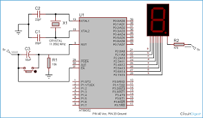 7 segment display interfacing with 8051 microcontroller at89s52