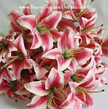 asian lilies real touch silk wedding flowers chart