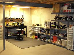 home basement with iron shelves storage for racing toys spare part