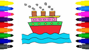 ship coloring pages and drawing for kids how to draw a ship and
