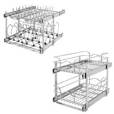 home depot kitchen cabinet organizers rev a shelf 21 in 2 tier cabinet organizer and 18 in pull out 2 tier wire baskets 5cw2 2122 cr the home depot
