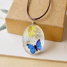 flowers with butterfly necklace images Fashion natural dried flower butterfly necklaces flowelry jpg