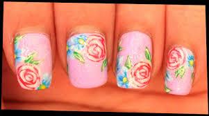pink roses u0026 blue flowers nail art youtube