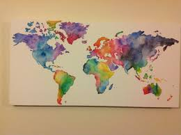 World Map Wall Decor by Homemade Watercolor World Map Sketch And Paint Diy Pinterest