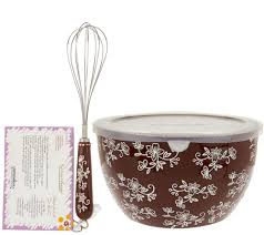 Baking Whisk by Temp Tations 4 5 Qt Holiday Bowl W Wire Whisk U0026 Recipe Cards