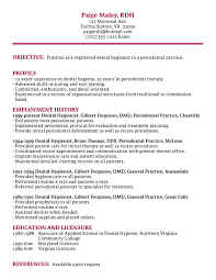 Example Chronological Resume by Dimensions Of Dental Hygiene
