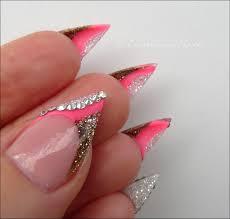 luminous nails coral pink shimmering gold u0026 white with swarovski