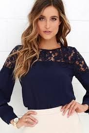 sleeve lace blouse lace top navy blue shirt sleeve top 48 00