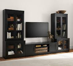 T V Stands With Cabinet Doors Tv Stand Media Suite With Glass Door Towers Pottery Barn