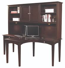 Computer Hutch Desk With Doors by Furniture Dark Brown Stained Wooden Dual T Computer Desk With