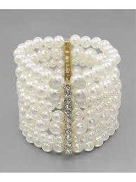 multi pearl bracelet images Multi strand ivory pearl rhinestone stretch bracelet blue velvet JPG