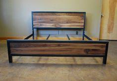Wood And Iron Bed Frames Kraftig Bed Number 4 With Walnut Number Etsy And Metals