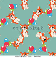 fox balloons greeting card gift love stock vector 215486209
