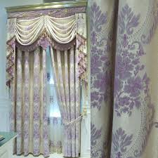 Lilac Curtains Exquisite Linen Fabric Blackout Curtain In Lilac Jacquard Craft