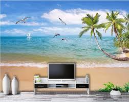 online get cheap 3d wall murals sea wallpaper aliexpress com 3d wall murals wallpaper for living room walls 3 d photo wallpaper sea coconut palm beach