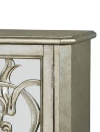 scrolled mirrored door console cabinet in pewter closeout by