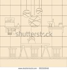 Interior Design Drawing Templates by Vector Illustration Kitchen Interior Design Template Stock Vector