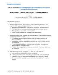 download human learning 6th edition by ormrod test bank