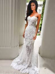 ivory lace wedding dress buy mermaid sweetheart sweep ivory lace wedding dress with