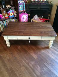 Distressed Oak Coffee Table Solid Oak Coffee Table With Drawer And Original Hardware Plaster