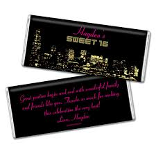 sweet 16 party favors city skyline candy bar wrappers wrapped