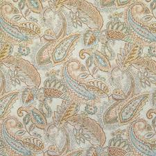 copper orange paisley foliage linen print upholstery fabric