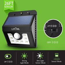 Solar Security Motion Sensor Light by Litom Solar Powered Wireless 8 Led Security Motion Sensor Lamp