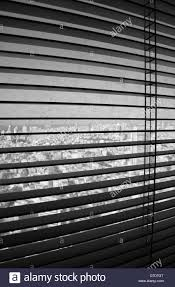 venetian blinds in their open position revealing dirty window