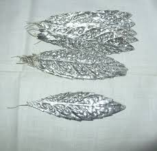 vintage millinery flower silver aluminum foil leaves by avaricia