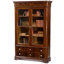 Vintage Bookcase With Glass Doors Antique Italian Walnut Bookcase With Glass Doors Circa 1850