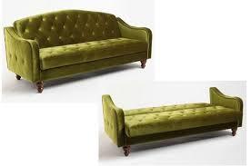 Green Sofa Bed Green Velvet Sofa Bed Tufted Futon Couch Sleeper Convertible Retro