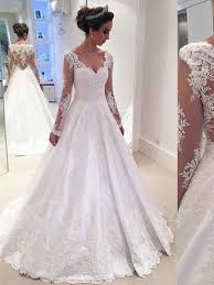 wedding dres v neck sleeves appliques a line wedding dress tbdress
