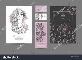 image woman flowers beautiful templates business stock vector