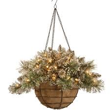 20 glittery bristle pine hanging basket with battery operated warm